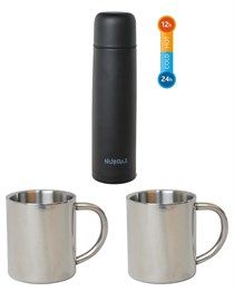 NURGAZ STEEL EXTREME THERMOS 1 LT + 2 PCS CHROME MUG SET